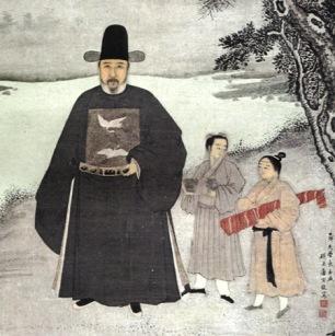 Mingqing renwuxiaoxiang huaxuan(Nanjing: Nanjing Bowuguan, 1979), pl. 16. Ming portrait of Jiang Shunfu. detail.